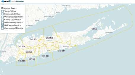 New York State Senate districts on Long Island.