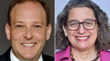 Lee Zeldin, Republican incumbent candidate, and Nancy Goroff,