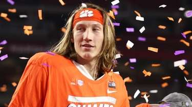 Trevor Lawrence  of the Clemson Tigers celebrates