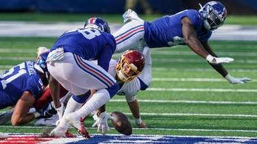 Washington Football Team quarterback Kyle Allen (8) loses