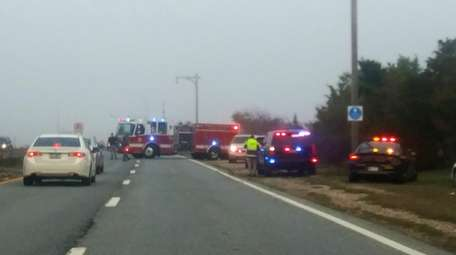 Firefighters and police respond to a helicopter down