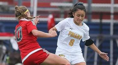 St Anthony's Daniela Monzon (8) looks to get