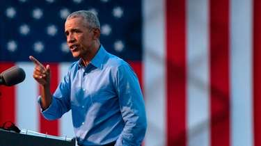 Former President Barack Obama addresses Biden-Harris supporters during