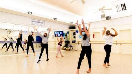 Students take jazz lessons at Variations, a dancer's