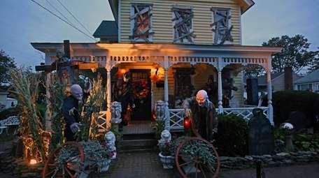This Oceanside home is decorated for Halloween with