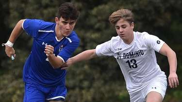 Nicholas Arcabasso #11 of Kellenberg, left, moves the