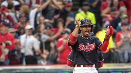 Cleveland Indians' Francisco Lindor toward New York Yankees'