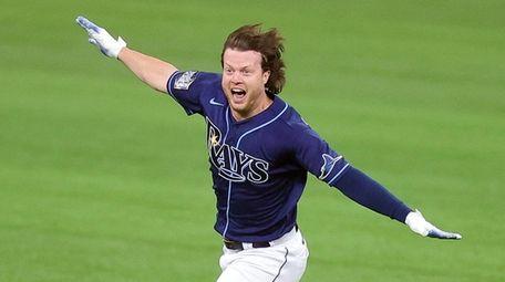 Brett Phillips of the Tampa Bay Rays celebrates