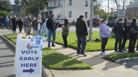 Early voters Sunday formed a line wrapped around