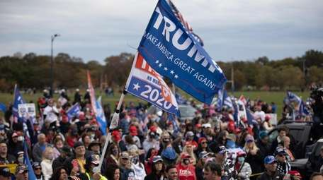 Trump supporters gather for a rally at Eisenhower