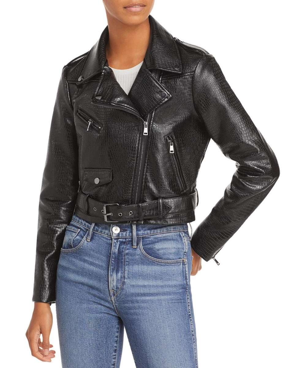 A classic moto jacket is croc-embossed for a
