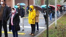 Long Islanderscast their ballotsat votingstations in Elmont, Garden