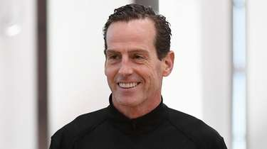 Kenny Atkinson answers questions from the media during