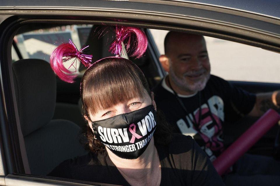 Breast cancer survivor Laura Parlatore of Huntington drives