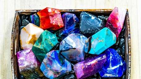 Soap rocks, gem-like soaps, pictured at The SoapBox
