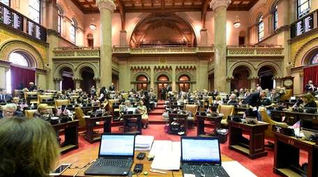 New York state Assembly members during session in