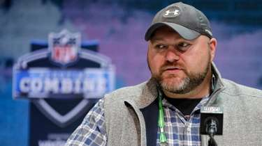 Jets general manager Joe Douglas speaks during a