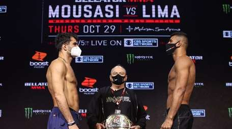 Gegard Mousasi, left, and Douglas Lima square off