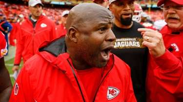 Kansas City offensive coordinator Eric Bieniemy after a