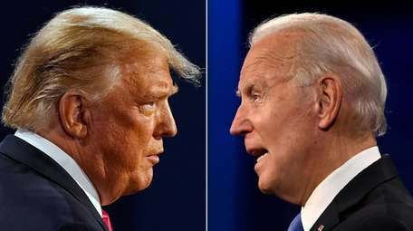 President Donald Trump and challenger Joe Biden at