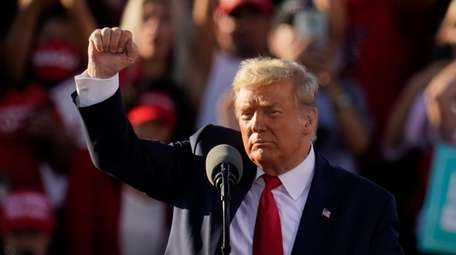 President Donald Trump at a campaign rally at
