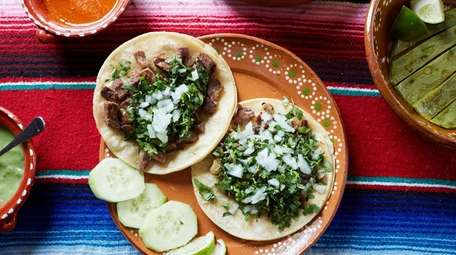 Tacos filled with cecina (head cheese) and lengua