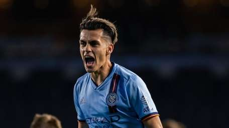 NYCFC's Jesús Medina celebrates during a victory over