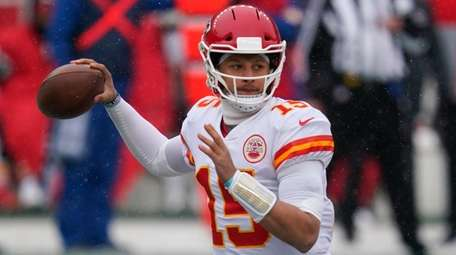 Kansas City quarterback Patrick Mahomes throws a pass