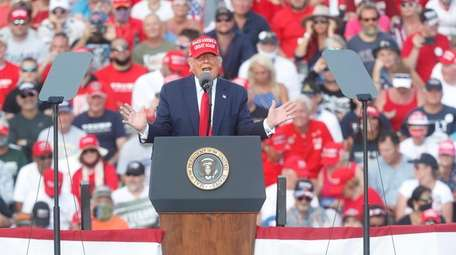 President Donald Trump at his campaign rally Thursday