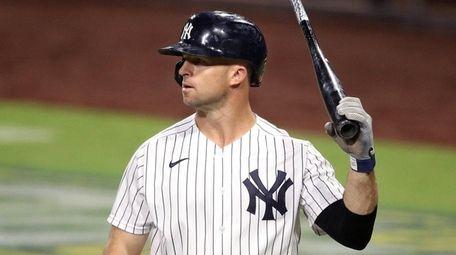 Brett Gardner of the Yankees reacts after striking