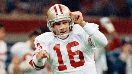 49ers quarterback Joe Montana celebrates during the second
