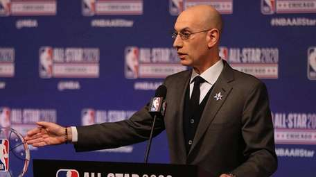 NBA Commissioner Adam Silver talks during events at