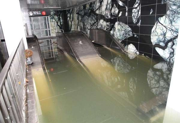 Flooded escalator in the South Ferry station of