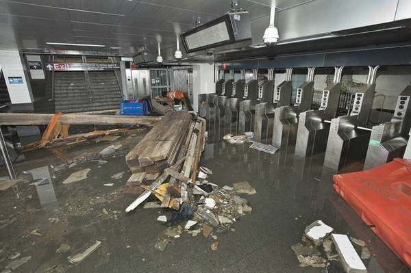 This photo provided by the MTA shows damage