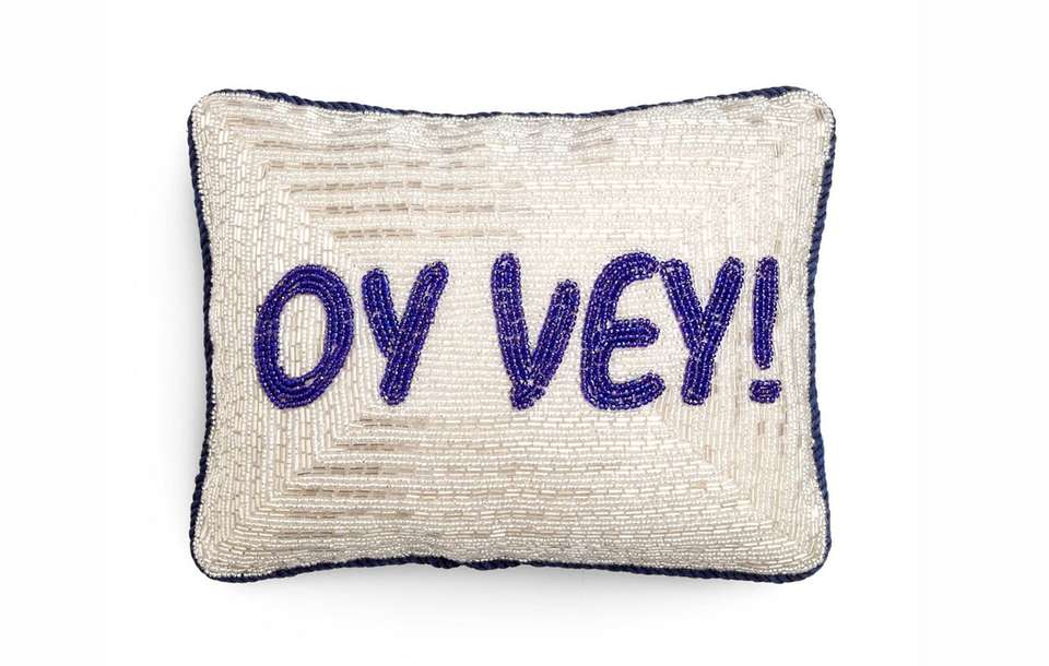 Cute holiday pillow in velvet with silver and