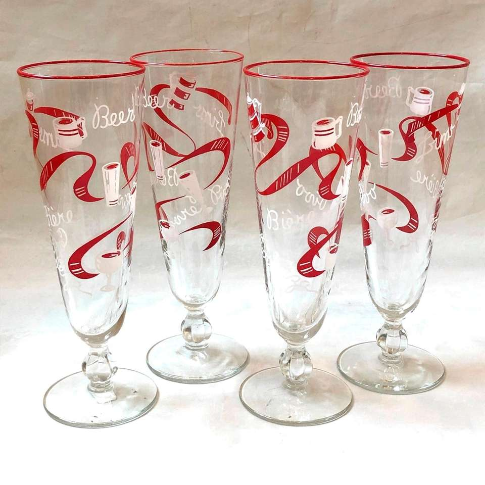 "Stylish vintage beer glasses with the word ""beer"""