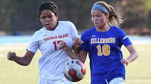 Sacred Heart defender Alexis Clarke-Lafargue and Kellenberg forward