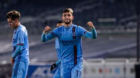 Valentín Castellanos celebrates during NYCFC's victory over the