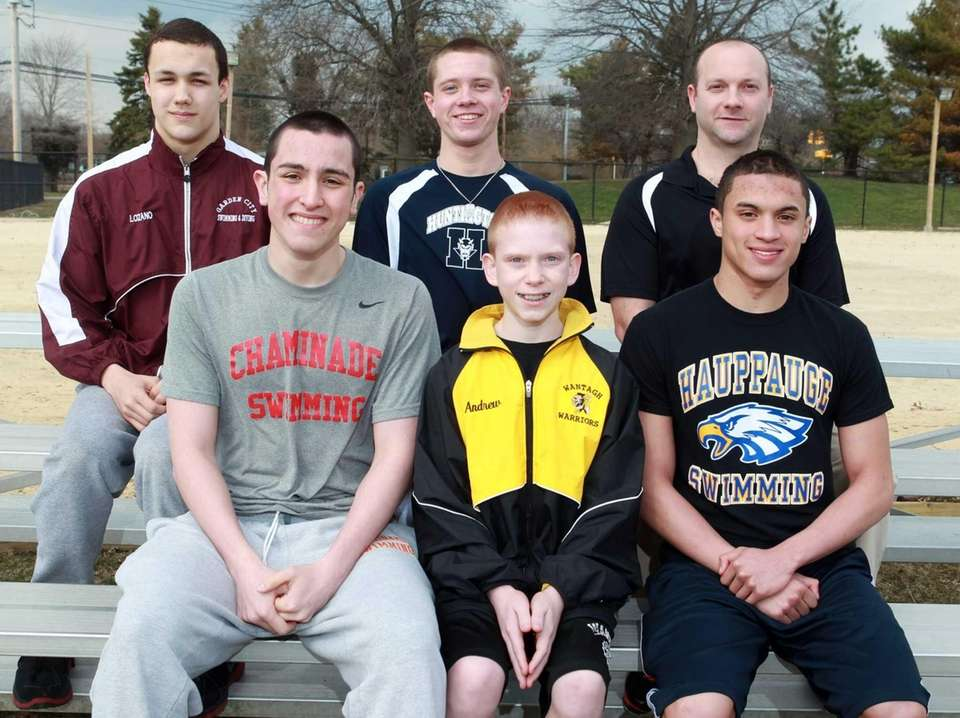 Boys Swimming: (front row, left to right) Dan