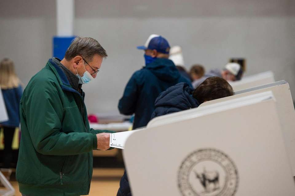 Carmine Farese from Montauk votes in the general