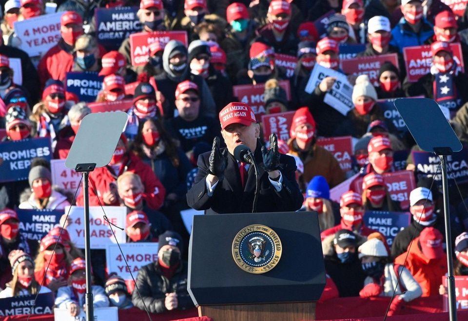 President Donald Trump speaks at a Make America