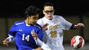 Kellenberg forward Julian Castillo plays the ball against
