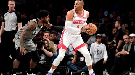 Russell Westbrook #0 of the Houston Rockets is