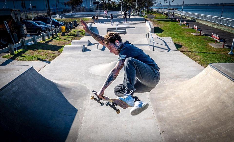 Long Beach resident Vinny Gismondi enjoying the afternoon