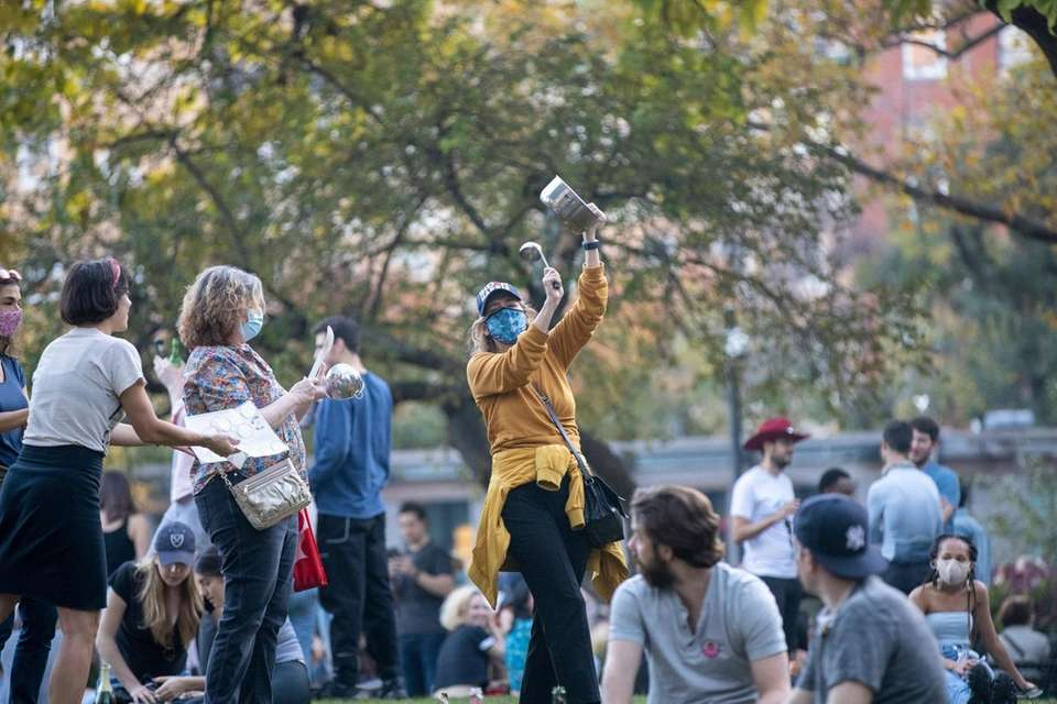 People celebrate in Washington Square Park after President-elect