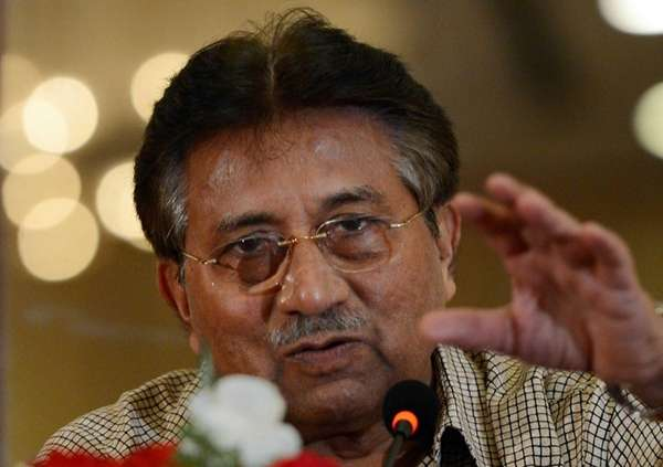Former Pakistani president Pervez Musharraf speaks to the