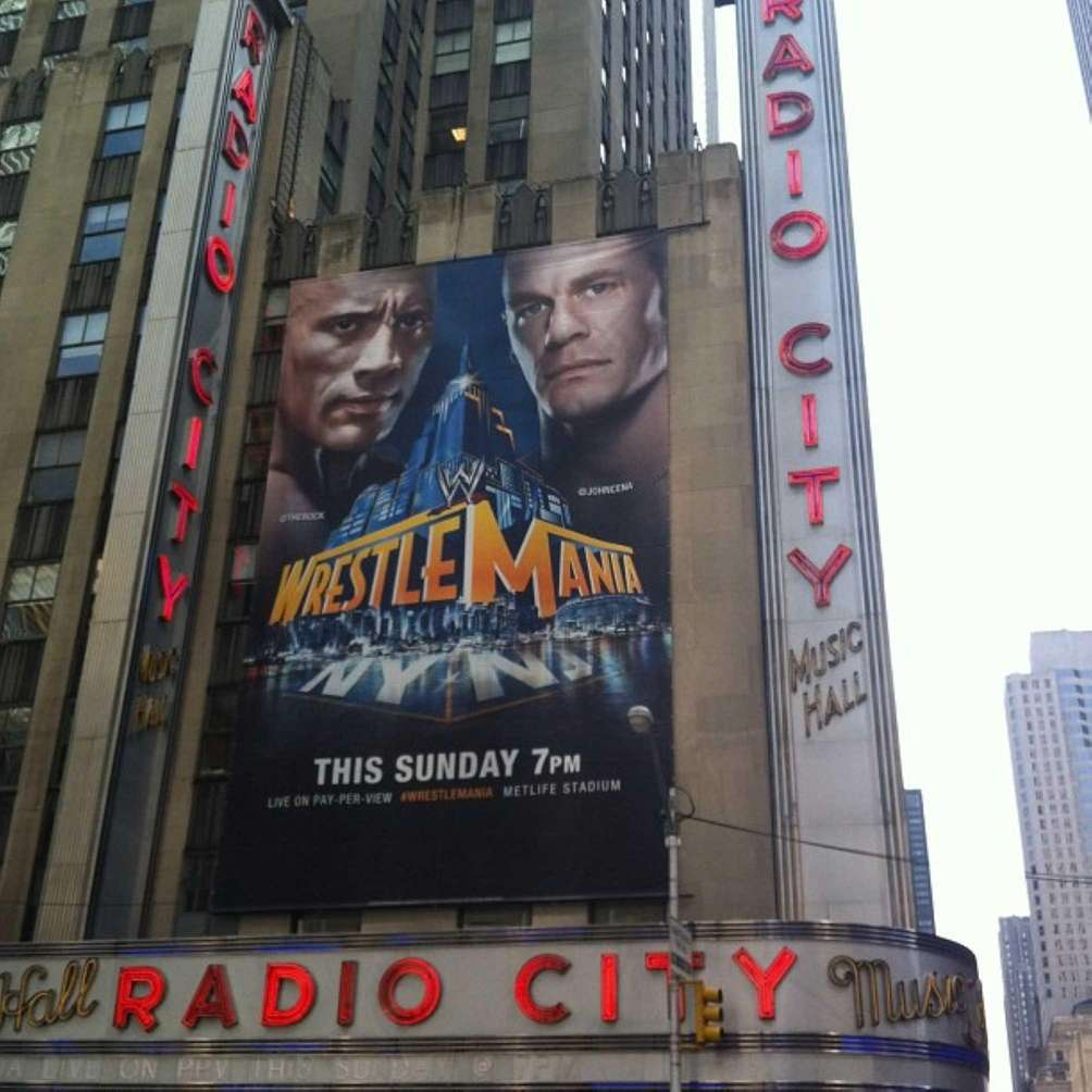 A banner at Radio City Music Hall promotes