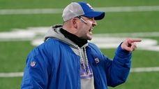 Giants head coach Joe Judge reacts during the