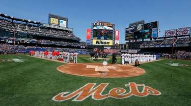 A general view of the national anthem before