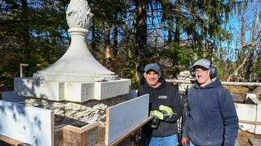 Brothers Michael and Anthony Butera restore columns at